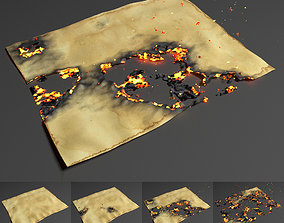Burning paper Animation 3D animated