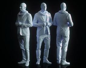 Man Closing Vest low Poly 3D asset