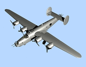 3D model B-24J Liberator Military Aircraft Unpainted