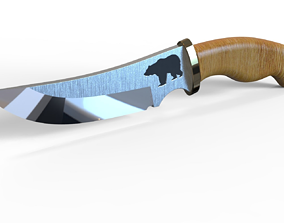 3D model Hunting knife with bear engraving