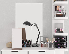 Dressing table with cosmetics 3D model