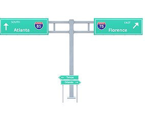 Highway Sign 03 3D model
