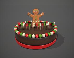 3D Gingerbread Man Happy Christmas Chocolate Cake