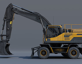 Excavator EW205D 3D asset game-ready