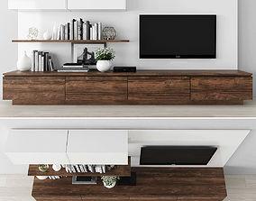3D asset low-poly shelf Tv stand