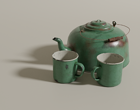 3D asset Tin kettle and cups