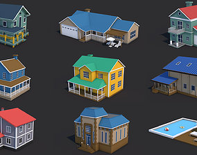 8 House Building and Swimming Pool 3D asset