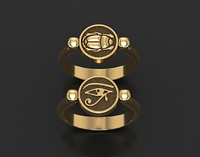 Wadjet Eye of Horus and scarab ring 3D print model