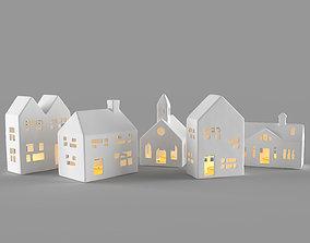 White ceramic houses 3D
