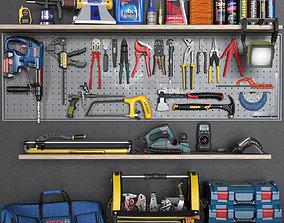 drill garage tools set 5 3D model