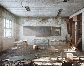 Abandoned classroom in chernobyl 3D model