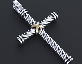 A stylish cross with a rope and a cross 356 3D print model
