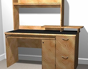 Wooden Computer Desk 3D