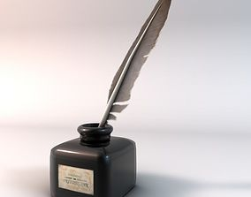 3D model Quill pen and ink bottle