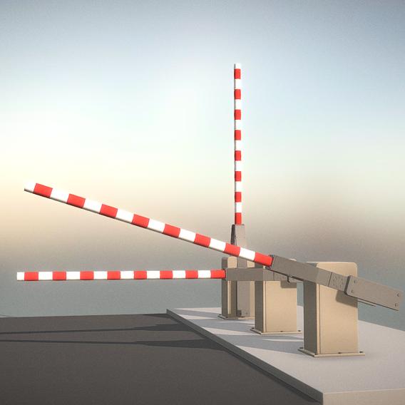 Railroad Barrier 3m High-Poly (Blender-2.91 Eevee)