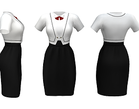 3D asset Maid Uniforms With Small Bow
