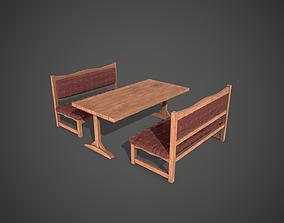 3D asset Table and Armchairs Street Garden Restaurant