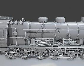rail 3D model Steam Locomotive Train