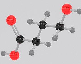 3D Drug GHB Gamma-hydroxybutyrate Molecule