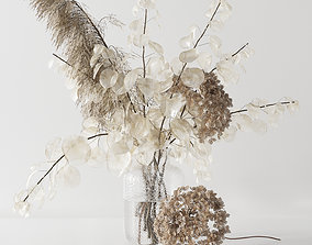 3D model Bouquet with lunaria pampas grass and