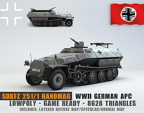 Low Poly Sdkfz 251 Hanomag armored car 3D asset