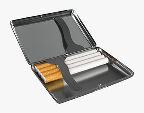 Cigarette metal case box 04 open 3D