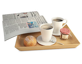 3D model Breakfast Coffee And Newspaper