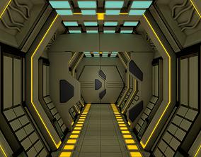 3D metal Sci Fi Corridor