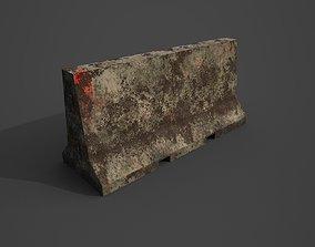 Concrete barrier 3D model low-poly PBR