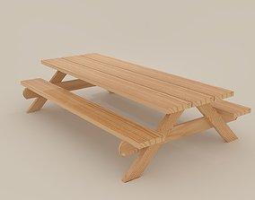 Picnic Bench Lowpoly 3D asset
