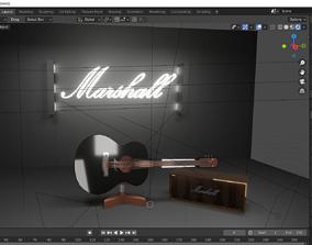 3D model electric acoustic GUITAR