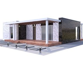 3D Modern brick House model balcony