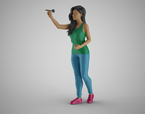 Woman Throwing Darts 3D print model