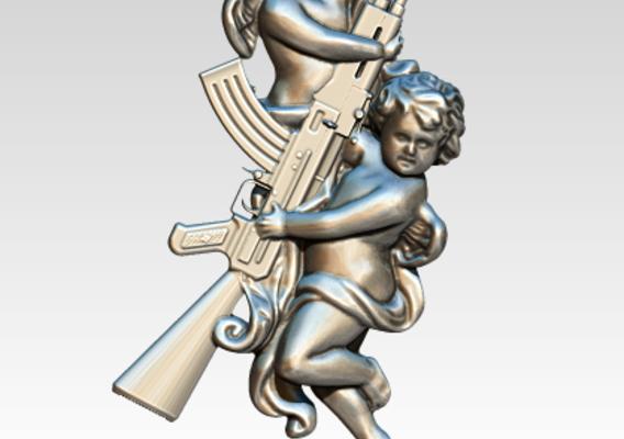 Cupid Angel AK47 Tatto Pendant Relife