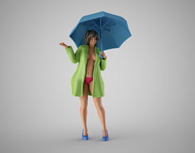 Woman in the Rain 3D print model