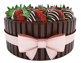 3D model Strawberry cake with bow