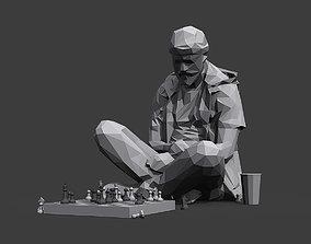 3D asset Street Chessplayer