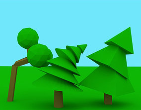 3D model Low Poly Rigged Trees Pack