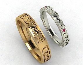 illustration 3D print model Claddagh ring