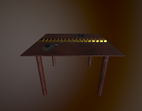 WEAPON AND GOLD ON THE TABLE 3D model