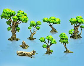 Low poly forest trees 3D asset