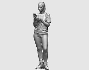 3D young girl looking on iphone in sportswear and 1
