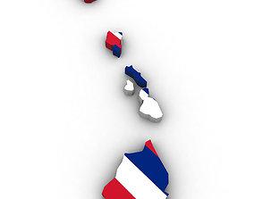 3D Hawaii Political Map union
