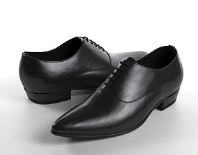 Black Pointed Derby Shoes 3D
