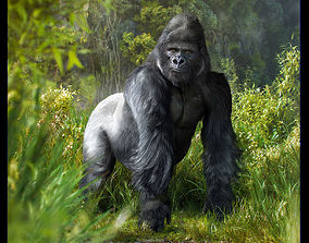 Gorilla 3D model animated