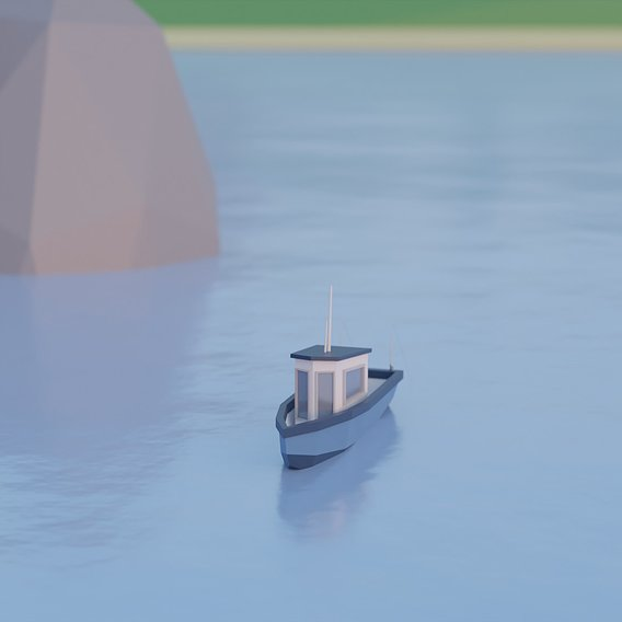 Low Poly Fishing Boat