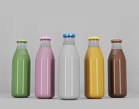 Glass juice bottle 3D model