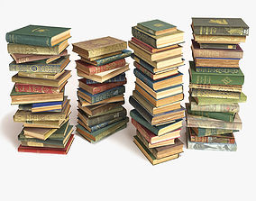 3D model books stacked on the floor set 8
