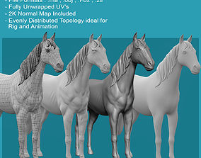 low-poly 3D Horse Model