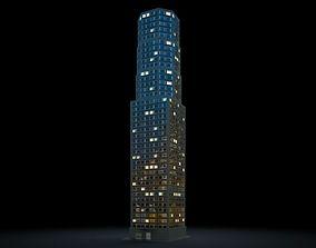 3D Lit Skyscraper At Night Ii